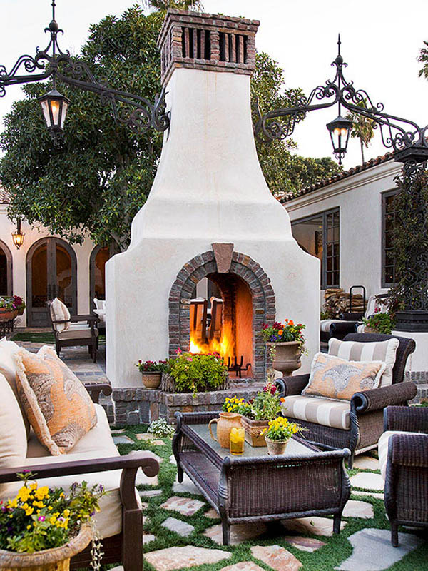Fireplace and lanterns