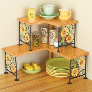 Two tiered sunflower corner shelves