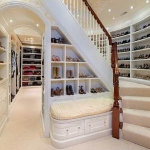 Perfect shoe closet with stairs